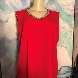 Calvin Klein XL Red Beaded Neck Sleeveless Top